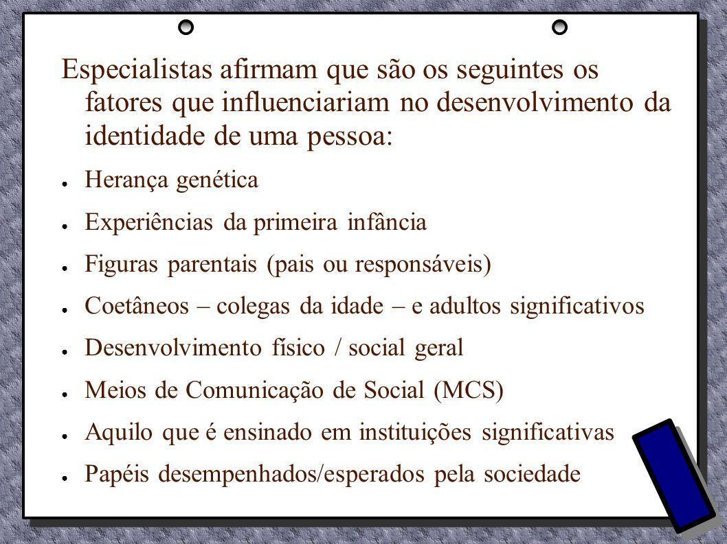 Especialistas afirmam que são os seguintes os fatores que influenciariam no desenvolvimento da identidade de uma pessoa: Herança genética Experiências