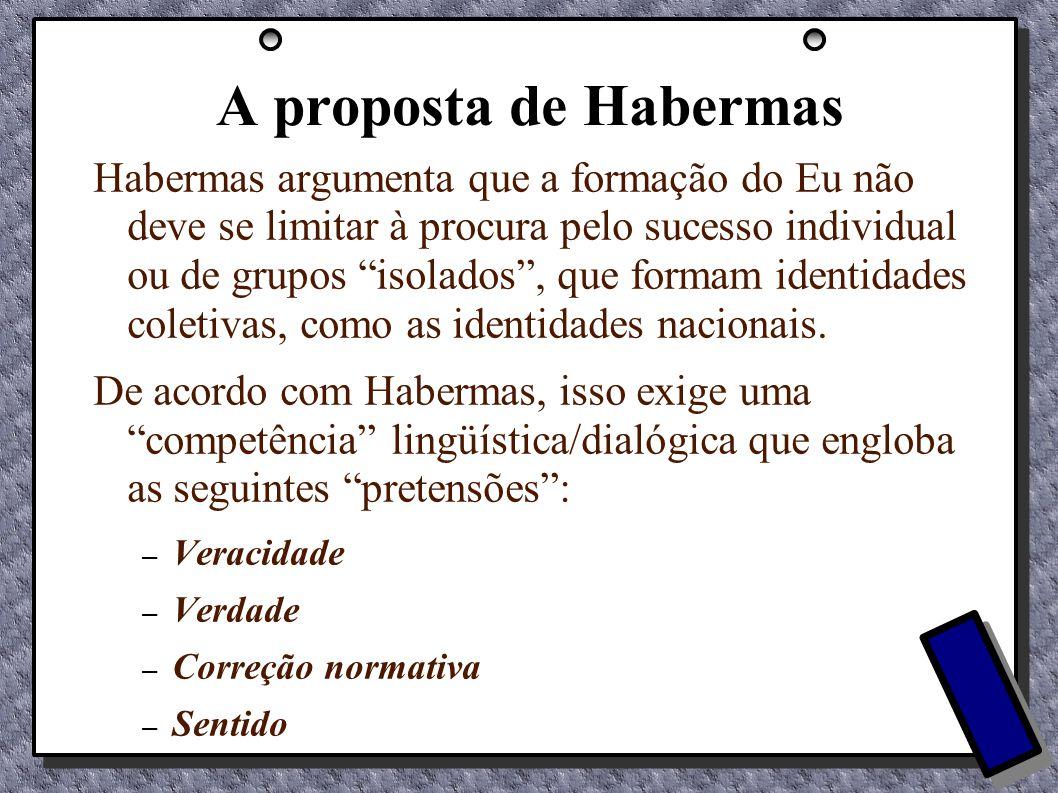 A proposta de Habermas Habermas argumenta que a formação do Eu não deve se limitar à procura pelo sucesso individual ou de grupos isolados, que formam