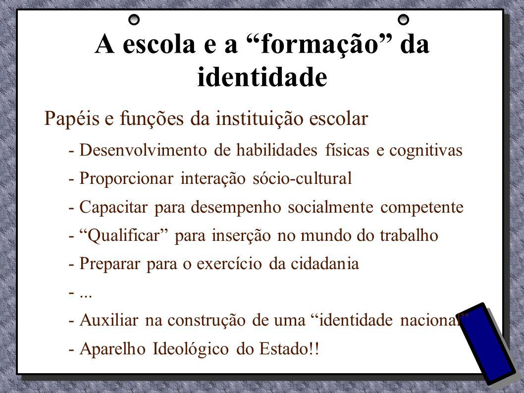 A escola e a formação da identidade Papéis e funções da instituição escolar - Desenvolvimento de habilidades físicas e cognitivas - Proporcionar inter