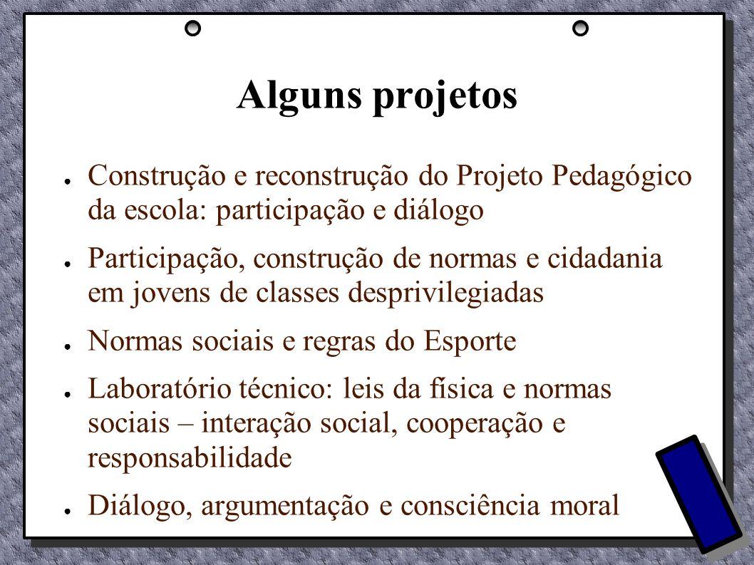 Alguns projetos Construção e reconstrução do Projeto Pedagógico da escola: participação e diálogo Participação, construção de normas e cidadania em jo