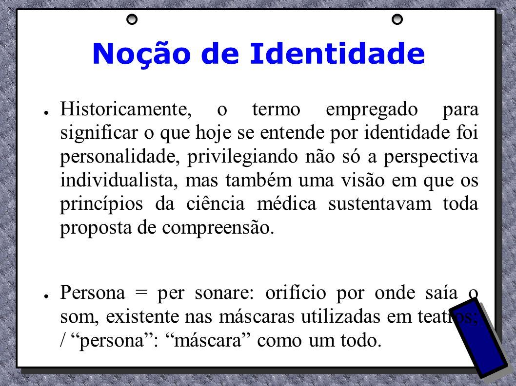 Noção de Identidade Historicamente, o termo empregado para significar o que hoje se entende por identidade foi personalidade, privilegiando não só a p