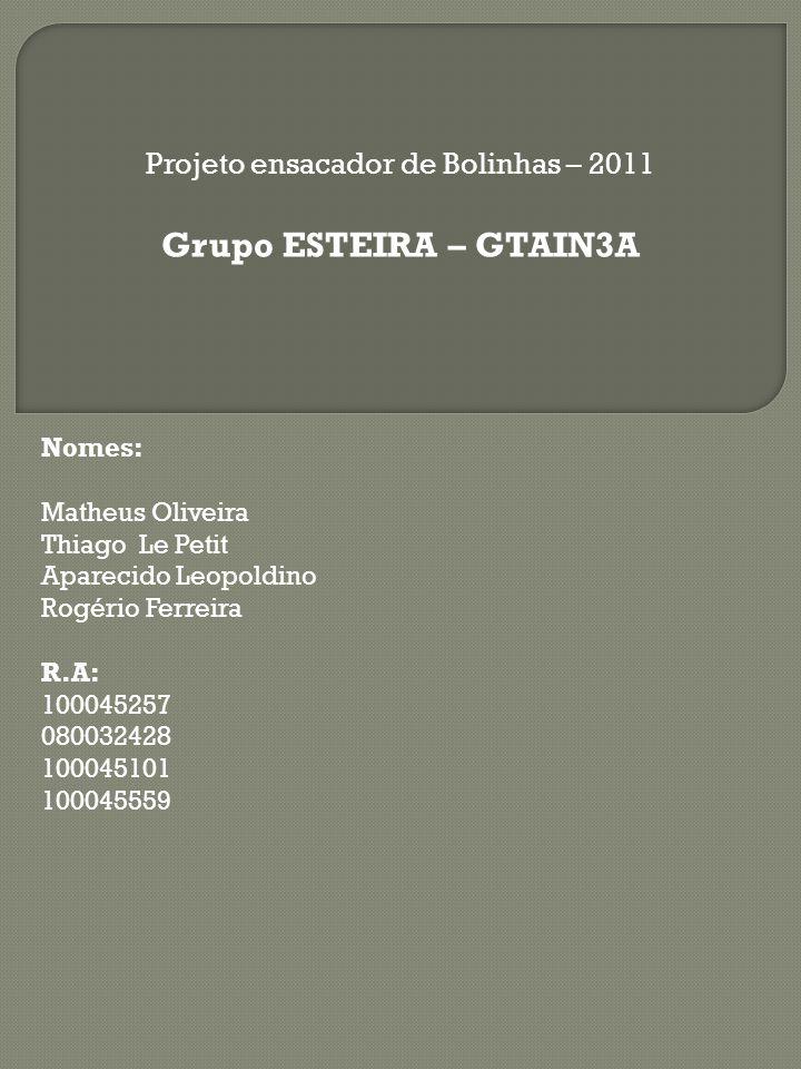 Projeto ensacador de Bolinhas – 2011 Grupo ESTEIRA – GTAIN3A Nomes: Matheus Oliveira Thiago Le Petit Aparecido Leopoldino Rogério Ferreira R.A: 100045257 080032428 100045101 100045559