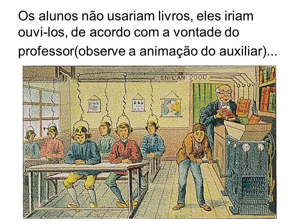 Os alunos não usariam livros, eles iriam ouvi-los, de acordo com a vontade do professor(observe a animação do auxiliar)...