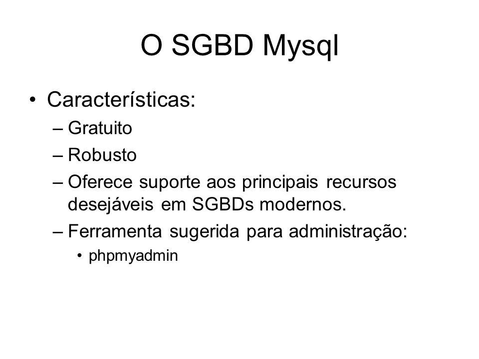 O SGBD Mysql Características: –Gratuito –Robusto –Oferece suporte aos principais recursos desejáveis em SGBDs modernos. –Ferramenta sugerida para admi