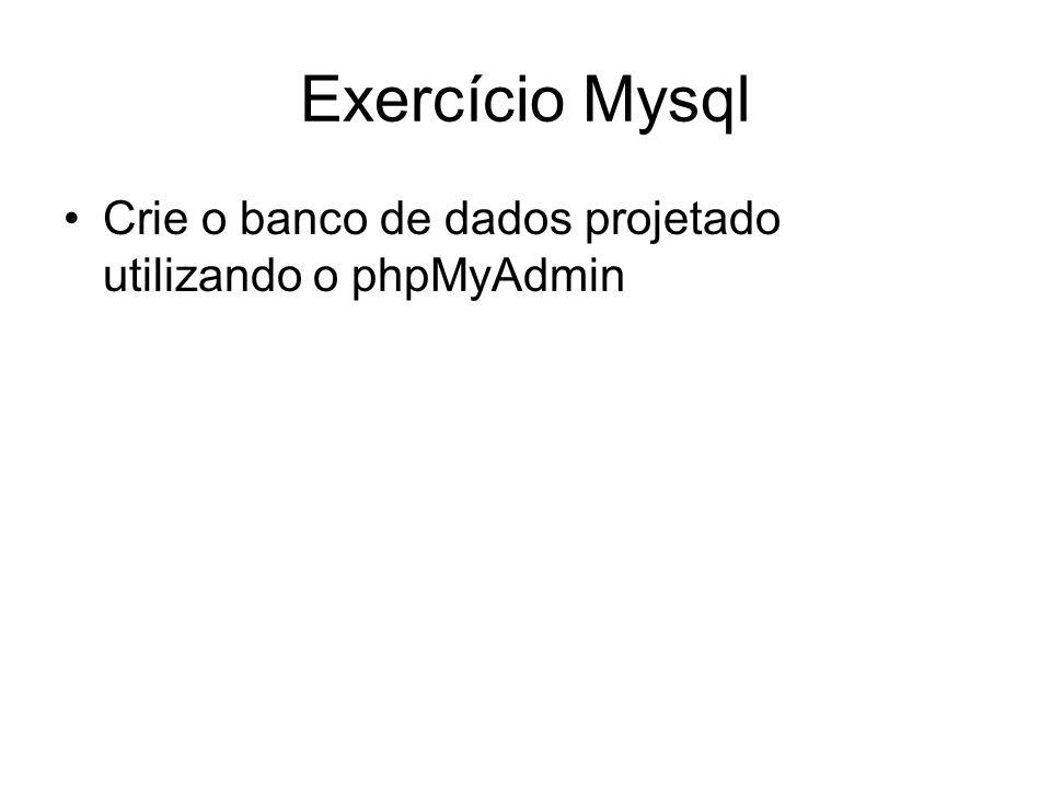 Exercício Mysql Crie o banco de dados projetado utilizando o phpMyAdmin