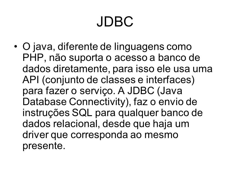 JDBC O java, diferente de linguagens como PHP, não suporta o acesso a banco de dados diretamente, para isso ele usa uma API (conjunto de classes e int
