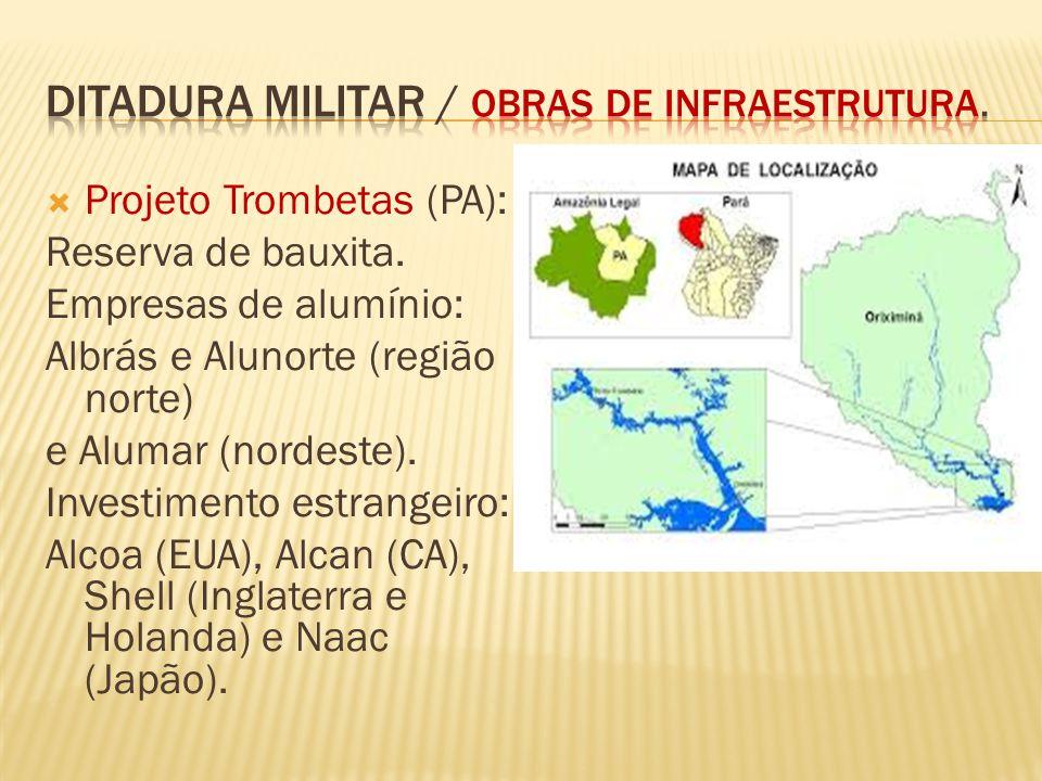 Projeto Trombetas (PA): Reserva de bauxita. Empresas de alumínio: Albrás e Alunorte (região norte) e Alumar (nordeste). Investimento estrangeiro: Alco