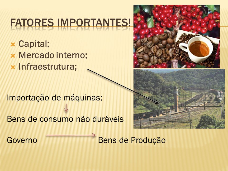 Capital; Mercado interno; Infraestrutura; Importação de máquinas; Bens de consumo não duráveis Governo Bens de Produção