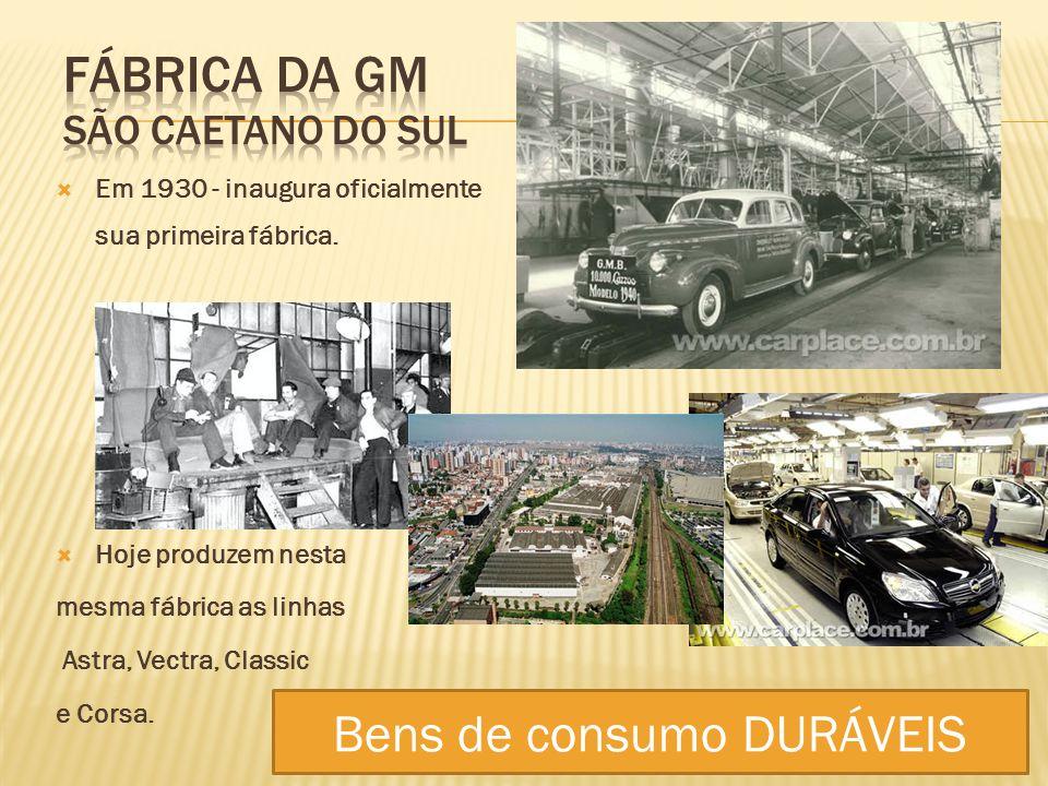 Em 1930 - inaugura oficialmente sua primeira fábrica. Hoje produzem nesta mesma fábrica as linhas Astra, Vectra, Classic e Corsa. Bens de consumo DURÁ