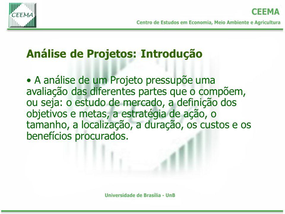 A análise de um Projeto pressupõe uma avaliação das diferentes partes que o compõem, ou seja: o estudo de mercado, a definição dos objetivos e metas,
