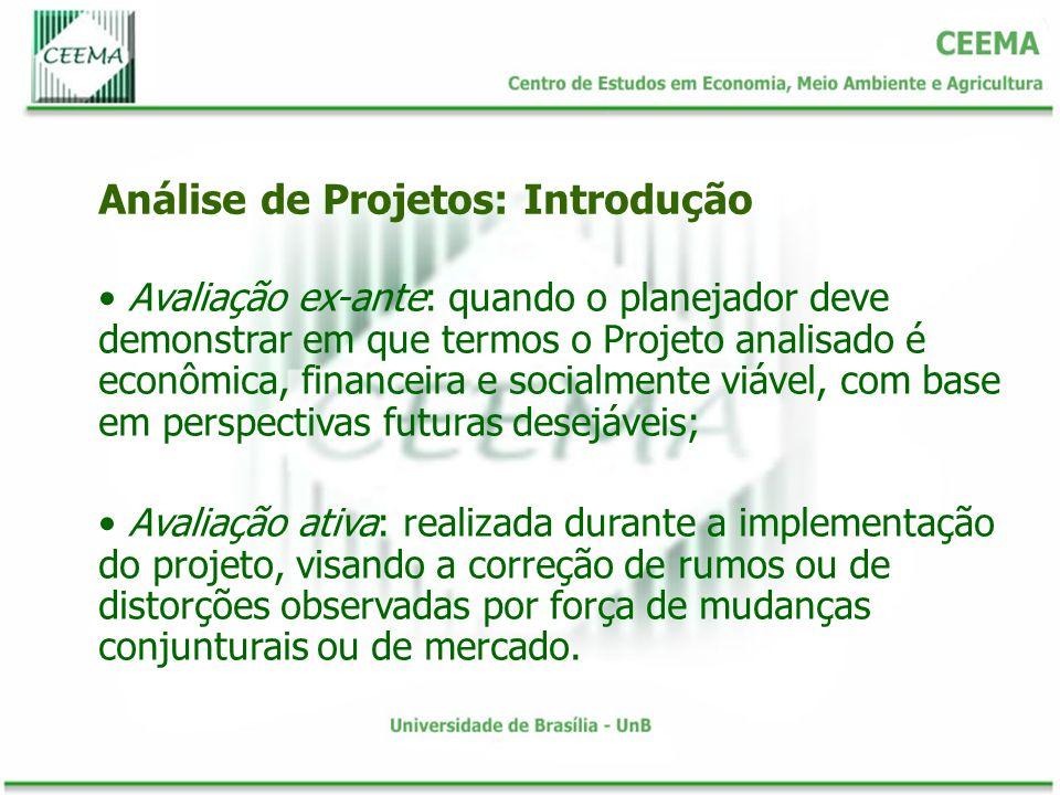 Avaliação ex-ante: quando o planejador deve demonstrar em que termos o Projeto analisado é econômica, financeira e socialmente viável, com base em per