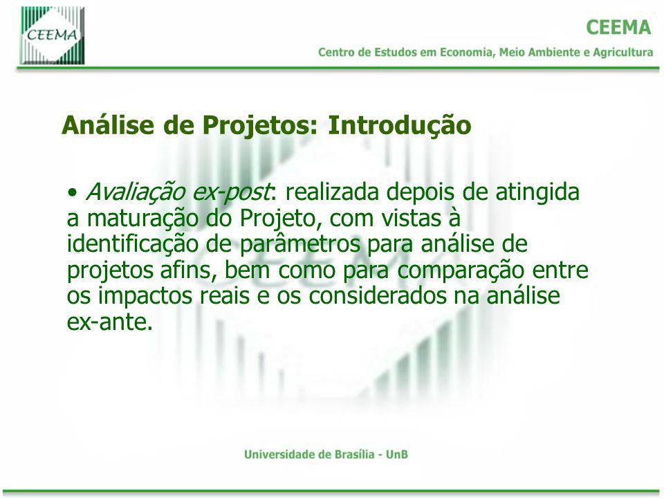 Avaliação ex-post: realizada depois de atingida a maturação do Projeto, com vistas à identificação de parâmetros para análise de projetos afins, bem c