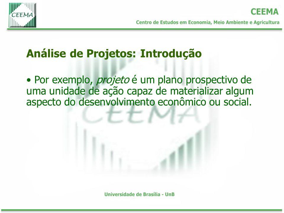 Por exemplo, projeto é um plano prospectivo de uma unidade de ação capaz de materializar algum aspecto do desenvolvimento econômico ou social. Análise