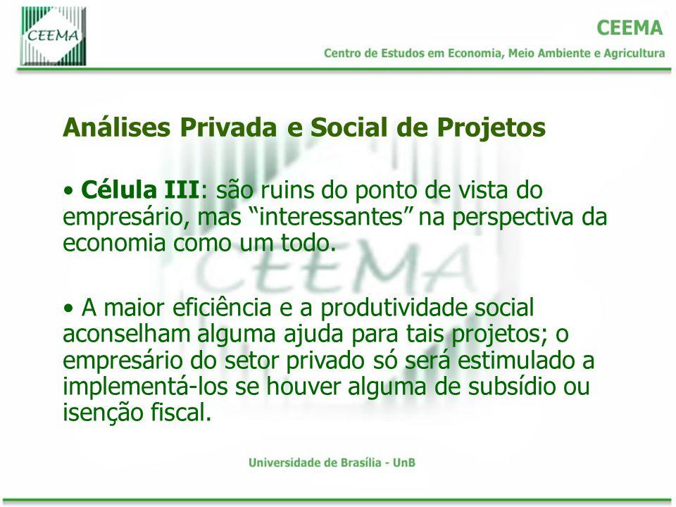Célula III: são ruins do ponto de vista do empresário, mas interessantes na perspectiva da economia como um todo. A maior eficiência e a produtividade