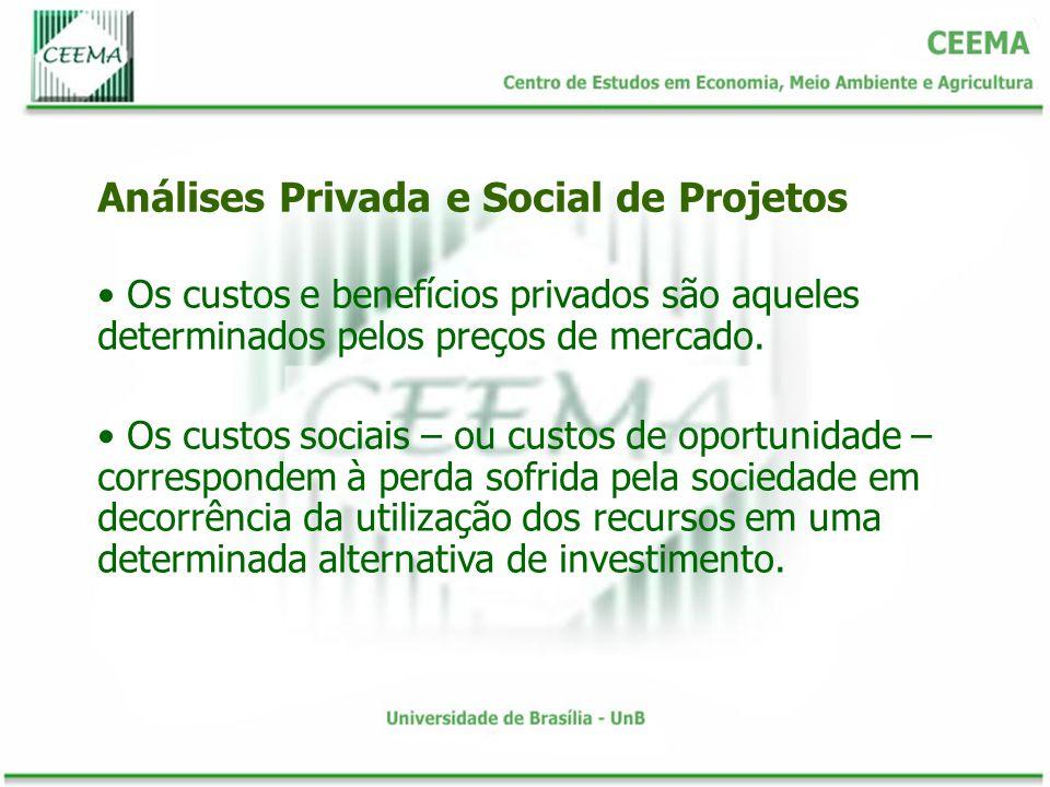 Os custos e benefícios privados são aqueles determinados pelos preços de mercado. Os custos sociais – ou custos de oportunidade – correspondem à perda