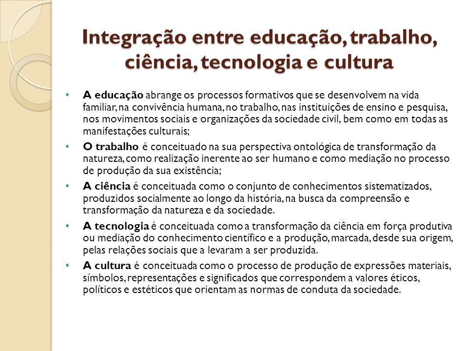 Integração entre educação, trabalho, ciência, tecnologia e cultura A educação abrange os processos formativos que se desenvolvem na vida familiar, na convivência humana, no trabalho, nas instituições de ensino e pesquisa, nos movimentos sociais e organizações da sociedade civil, bem como em todas as manifestações culturais; O trabalho é conceituado na sua perspectiva ontológica de transformação da natureza, como realização inerente ao ser humano e como mediação no processo de produção da sua existência; A ciência é conceituada como o conjunto de conhecimentos sistematizados, produzidos socialmente ao longo da história, na busca da compreensão e transformação da natureza e da sociedade.