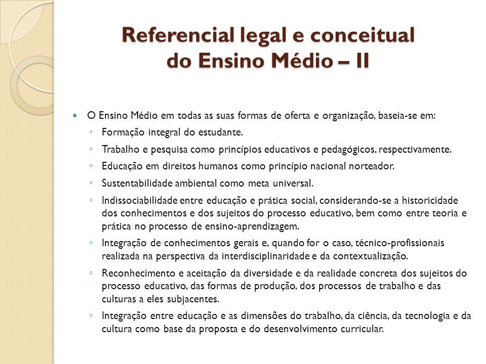 Referencial legal e conceitual do Ensino Médio – II O Ensino Médio em todas as suas formas de oferta e organização, baseia-se em: Formação integral do estudante.