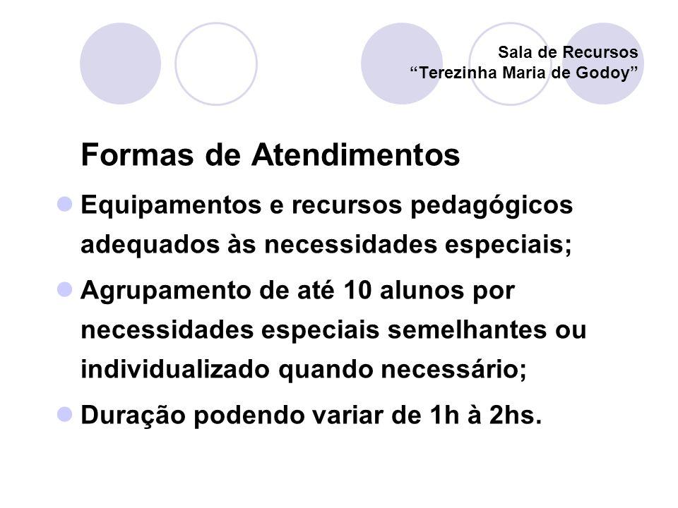 Formas de Atendimentos Equipamentos e recursos pedagógicos adequados às necessidades especiais; Agrupamento de até 10 alunos por necessidades especiai