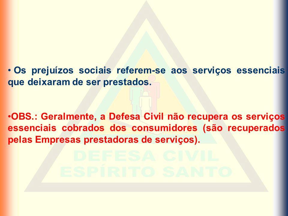 Os prejuízos sociais referem-se aos serviços essenciais que deixaram de ser prestados. OBS.: Geralmente, a Defesa Civil não recupera os serviços essen