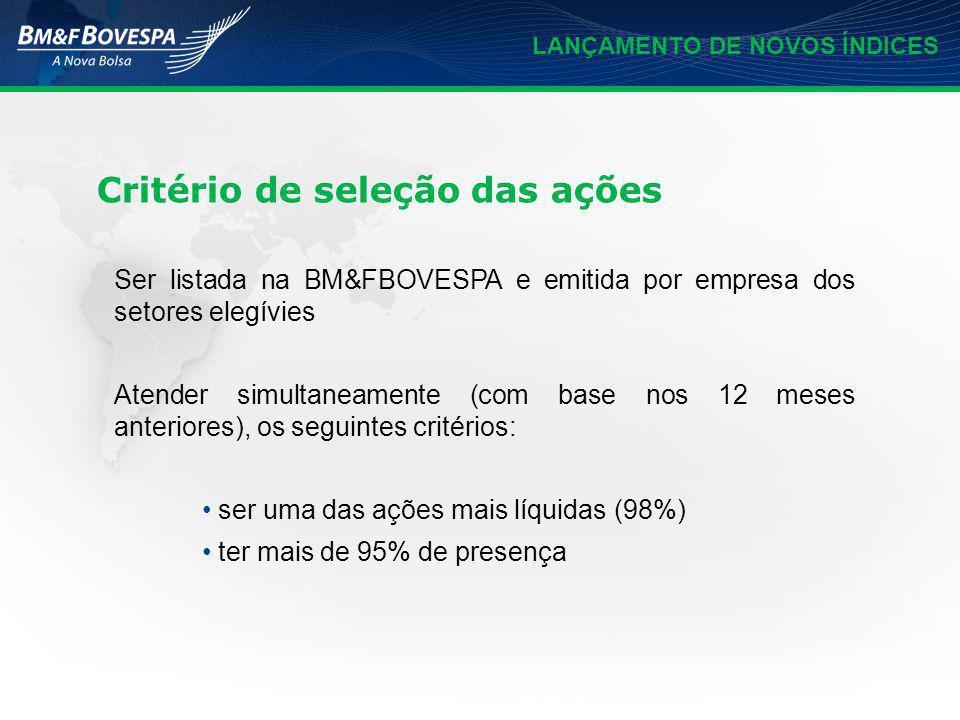LANÇAMENTO DE NOVOS ÍNDICES Critério de seleção das ações Ser listada na BM&FBOVESPA e emitida por empresa dos setores elegívies Atender simultaneamen