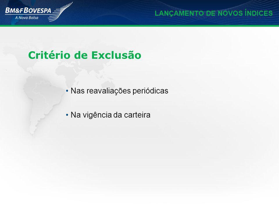 LANÇAMENTO DE NOVOS ÍNDICES Critério de Exclusão Nas reavaliações periódicas Na vigência da carteira