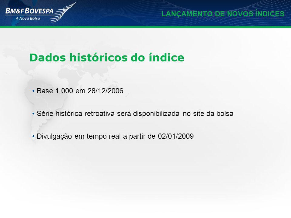 LANÇAMENTO DE NOVOS ÍNDICES Base 1.000 em 28/12/2006 Série histórica retroativa será disponibilizada no site da bolsa Divulgação em tempo real a parti