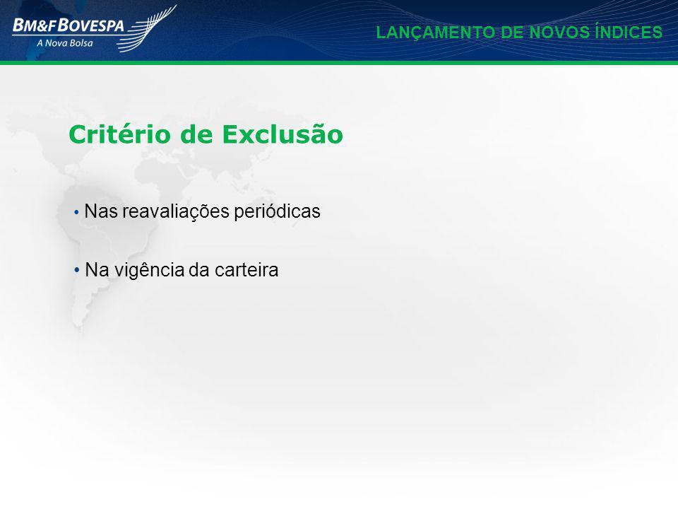 LANÇAMENTO DE NOVOS ÍNDICES Base 1.000 em 28/12/2007 Série histórica retroativa será disponibilizada no site da bolsa Divulgação em tempo real a partir de 02/01/2009 Dados históricos do índice
