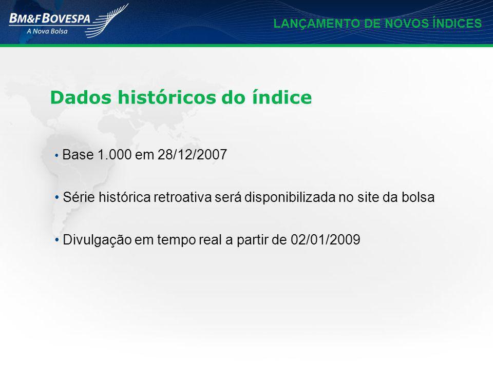 LANÇAMENTO DE NOVOS ÍNDICES Base 1.000 em 28/12/2007 Série histórica retroativa será disponibilizada no site da bolsa Divulgação em tempo real a parti
