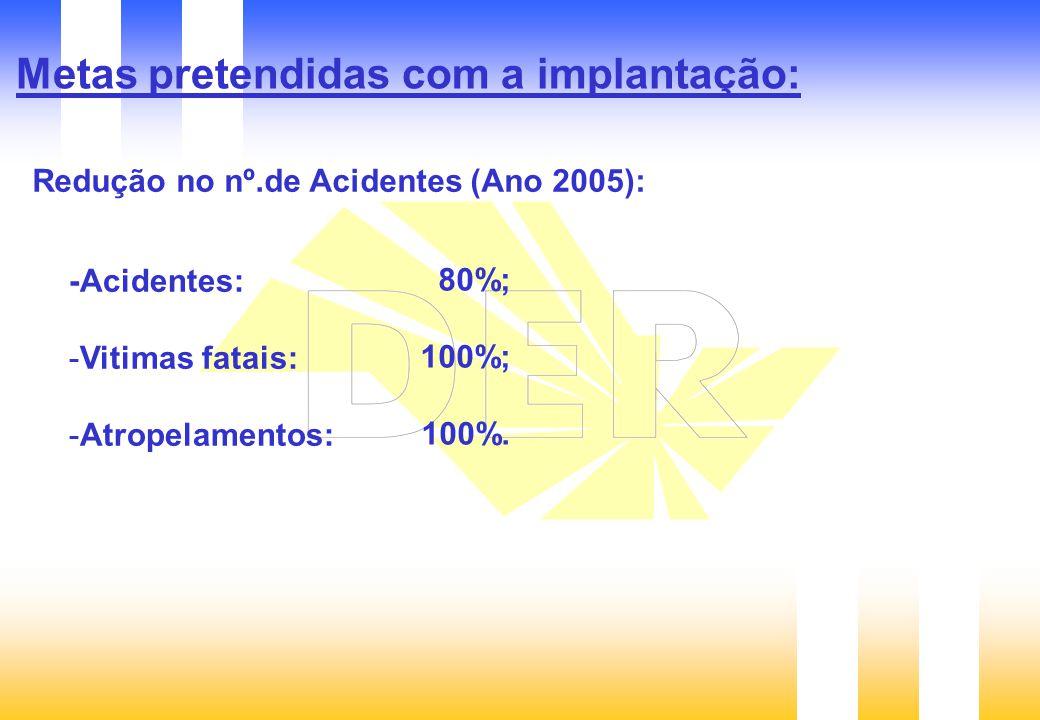 Metas pretendidas com a implantação: Redução no nº.de Acidentes (Ano 2005): -Acidentes: -Vitimas fatais: -Atropelamentos: 80%; 100%; 100%.