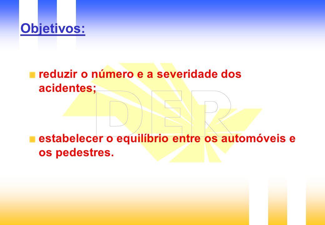 Objetivos: reduzir o número e a severidade dos acidentes; estabelecer o equilíbrio entre os automóveis e os pedestres.