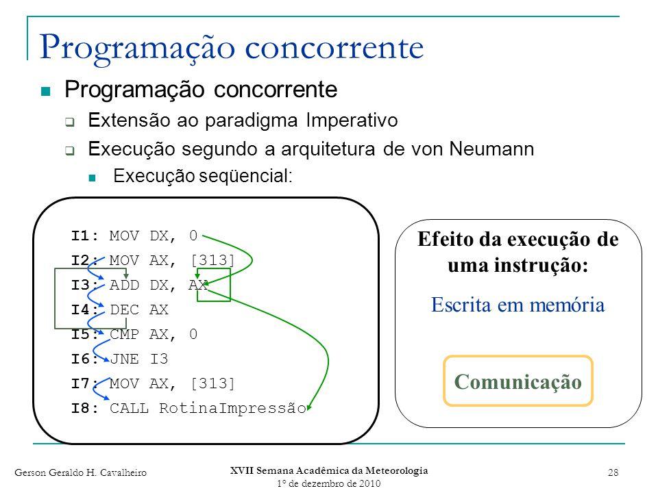 Gerson Geraldo H. Cavalheiro XVII Semana Acadêmica da Meteorologia 1 o de dezembro de 2010 28 Programação concorrente Extensão ao paradigma Imperativo