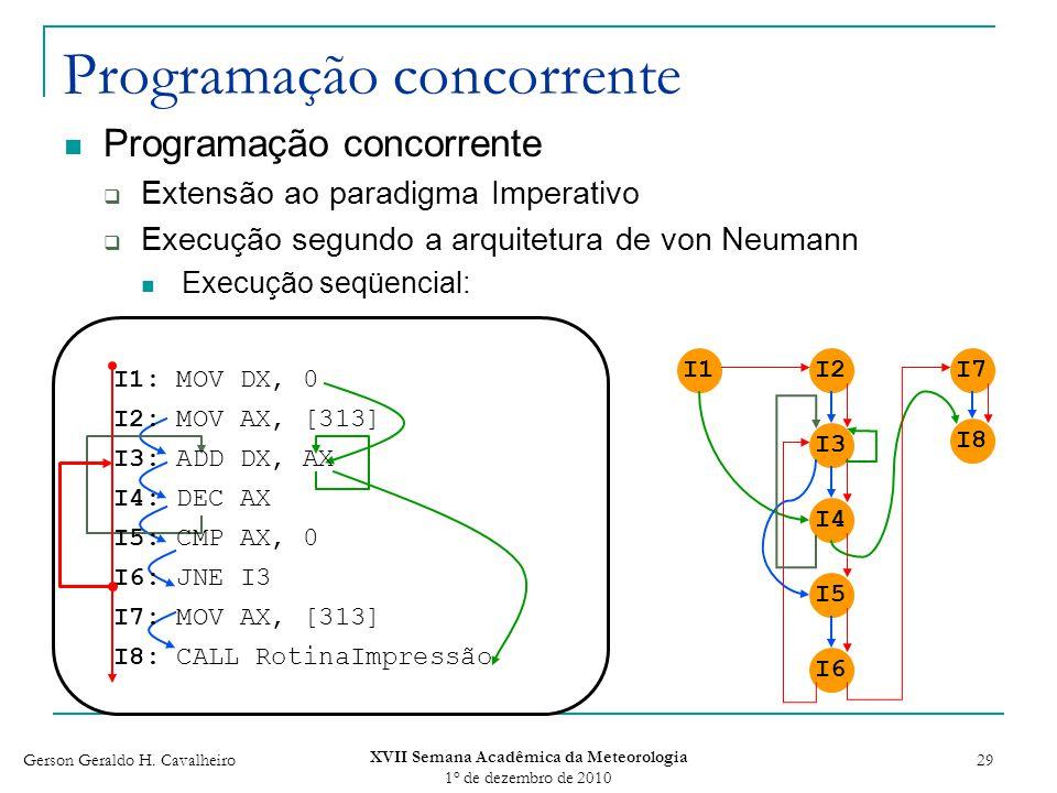 Gerson Geraldo H. Cavalheiro XVII Semana Acadêmica da Meteorologia 1 o de dezembro de 2010 29 Programação concorrente Extensão ao paradigma Imperativo
