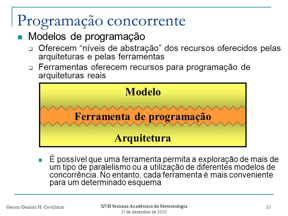 Gerson Geraldo H. Cavalheiro XVII Semana Acadêmica da Meteorologia 1 o de dezembro de 2010 33 Programação concorrente Modelos de programação Oferecem