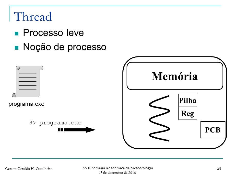 Gerson Geraldo H. Cavalheiro XVII Semana Acadêmica da Meteorologia 1 o de dezembro de 2010 35 Thread Processo leve Noção de processo Memória PCB progr