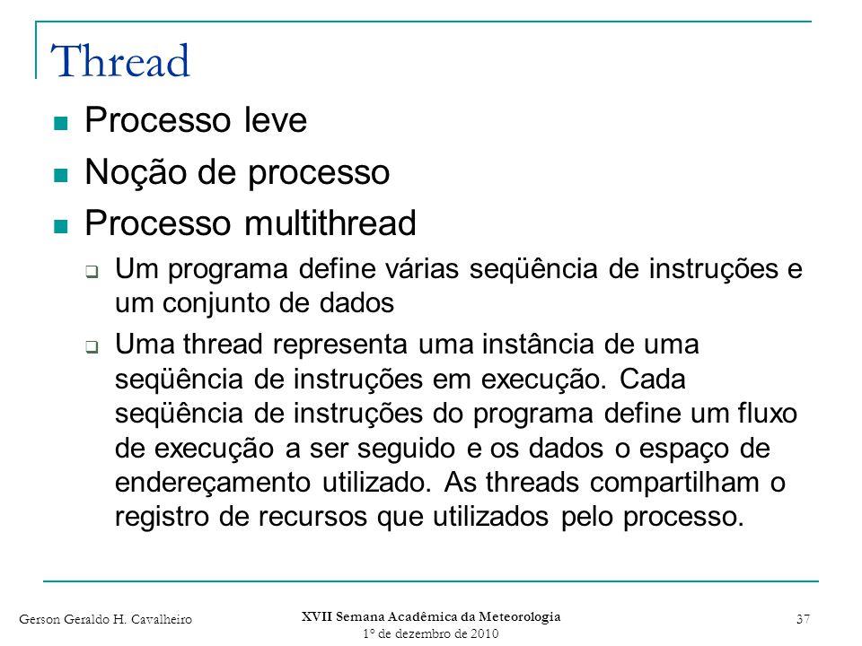Gerson Geraldo H. Cavalheiro XVII Semana Acadêmica da Meteorologia 1 o de dezembro de 2010 37 Thread Processo leve Noção de processo Processo multithr