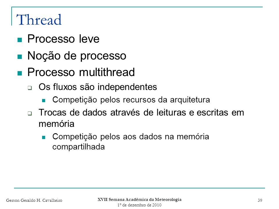 Gerson Geraldo H. Cavalheiro XVII Semana Acadêmica da Meteorologia 1 o de dezembro de 2010 39 Thread Processo leve Noção de processo Processo multithr