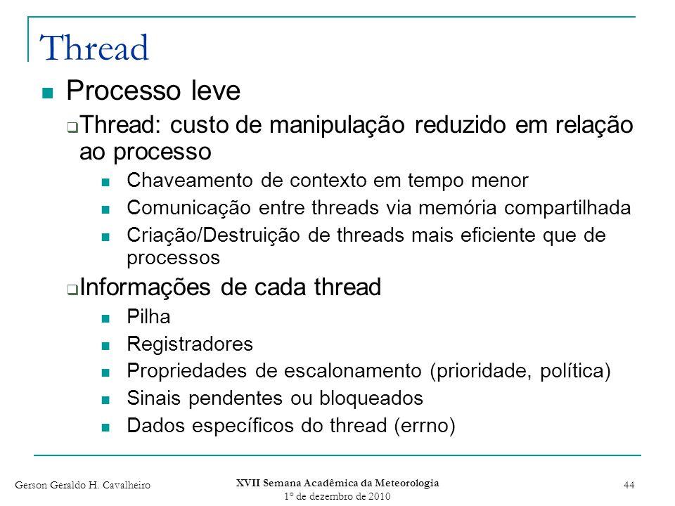 Gerson Geraldo H. Cavalheiro XVII Semana Acadêmica da Meteorologia 1 o de dezembro de 2010 44 Thread Processo leve Thread: custo de manipulação reduzi