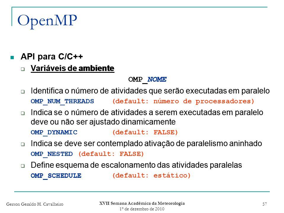 Gerson Geraldo H. Cavalheiro XVII Semana Acadêmica da Meteorologia 1 o de dezembro de 2010 57 API para C/C++ Variáveis de ambiente OMP_NOME Identifica