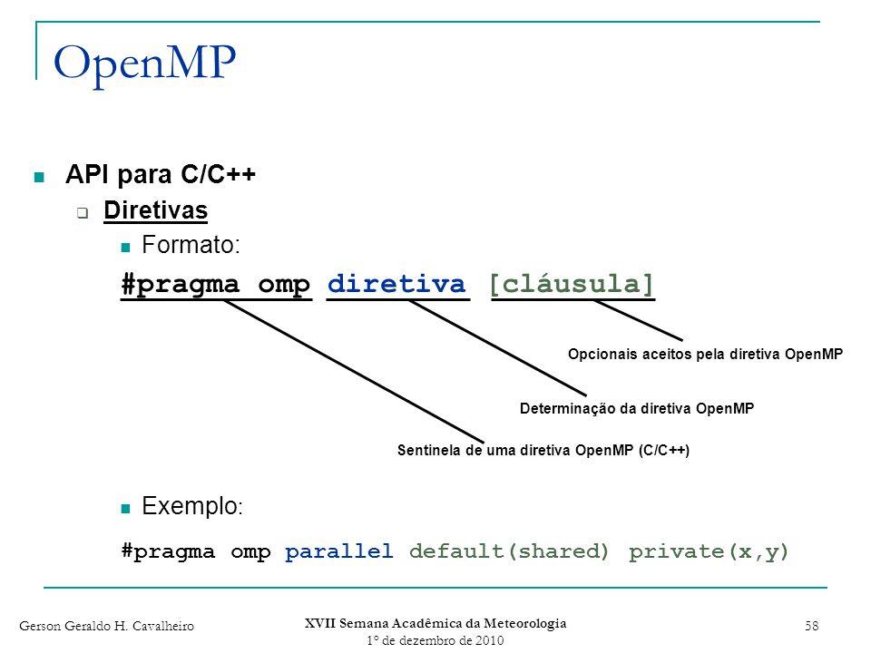 Gerson Geraldo H. Cavalheiro XVII Semana Acadêmica da Meteorologia 1 o de dezembro de 2010 58 OpenMP API para C/C++ Diretivas Formato: #pragma omp dir