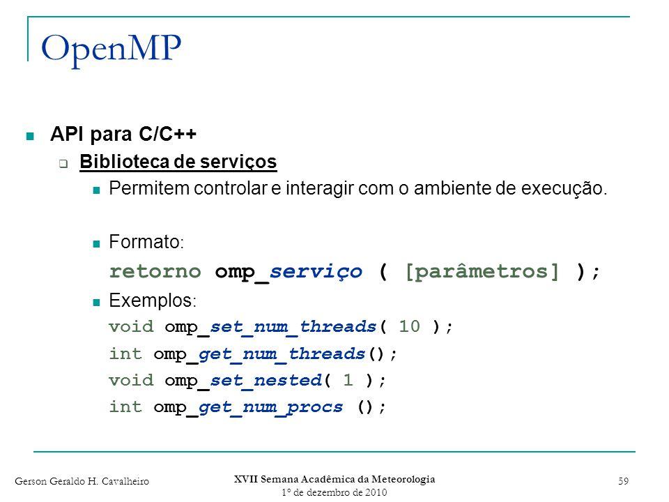 Gerson Geraldo H. Cavalheiro XVII Semana Acadêmica da Meteorologia 1 o de dezembro de 2010 59 OpenMP API para C/C++ Biblioteca de serviços Permitem co