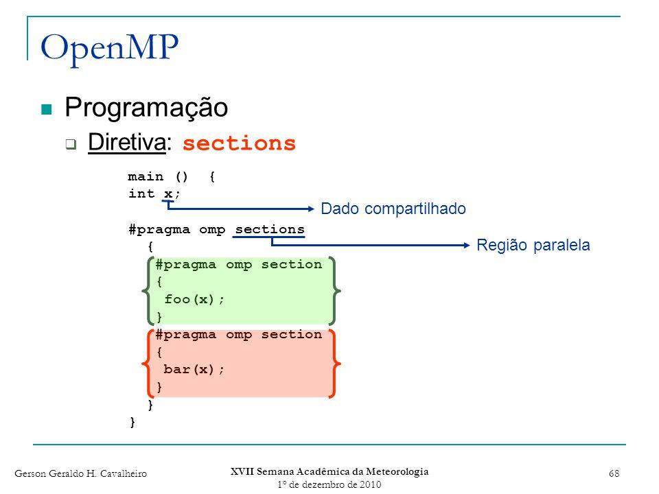 Gerson Geraldo H. Cavalheiro XVII Semana Acadêmica da Meteorologia 1 o de dezembro de 2010 68 OpenMP Programação Diretiva: sections main () { int x; #