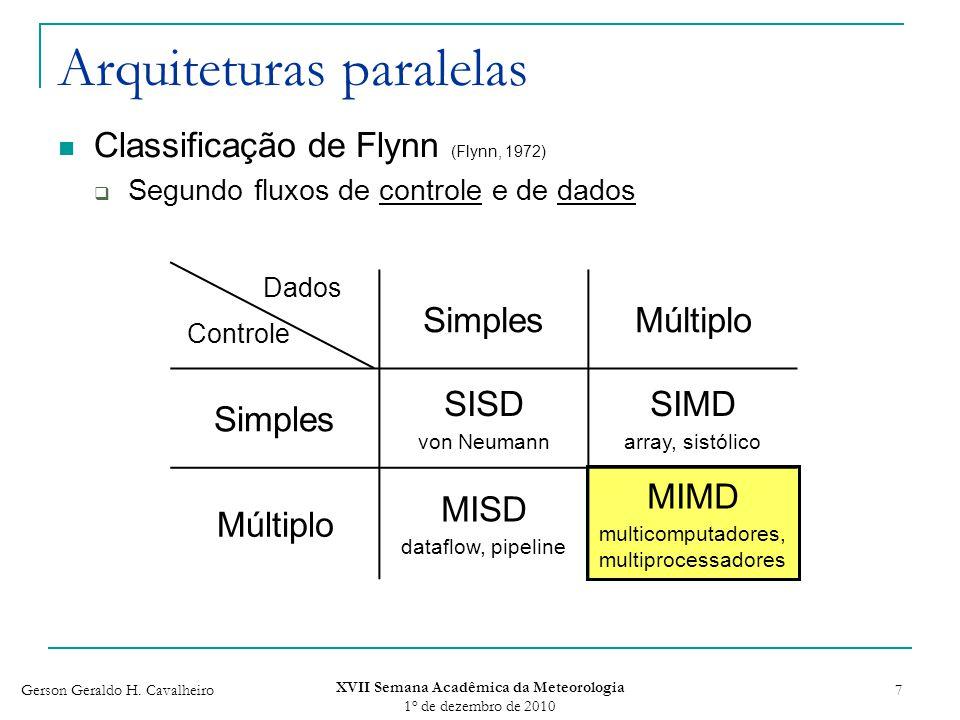 Gerson Geraldo H. Cavalheiro XVII Semana Acadêmica da Meteorologia 1 o de dezembro de 2010 7 Arquiteturas paralelas Classificação de Flynn (Flynn, 197