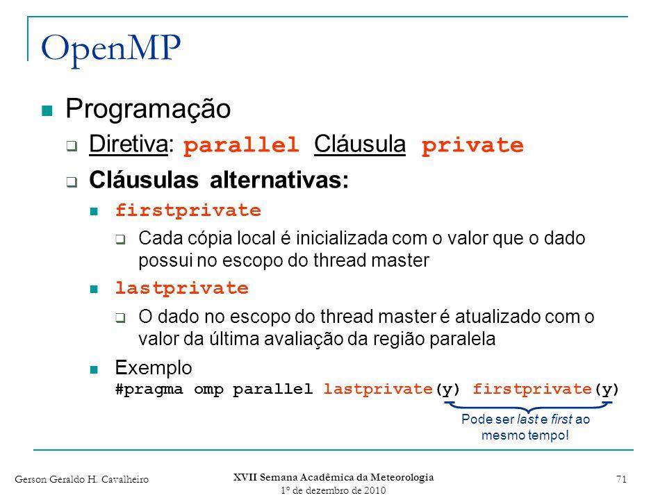 Gerson Geraldo H. Cavalheiro XVII Semana Acadêmica da Meteorologia 1 o de dezembro de 2010 71 OpenMP Programação Diretiva: parallel Cláusula private C