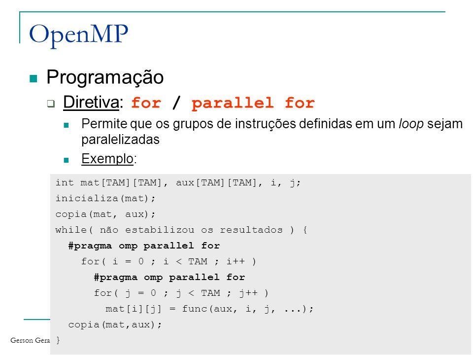 Gerson Geraldo H. Cavalheiro XVII Semana Acadêmica da Meteorologia 1 o de dezembro de 2010 78 OpenMP Programação Diretiva: for / parallel for Permite