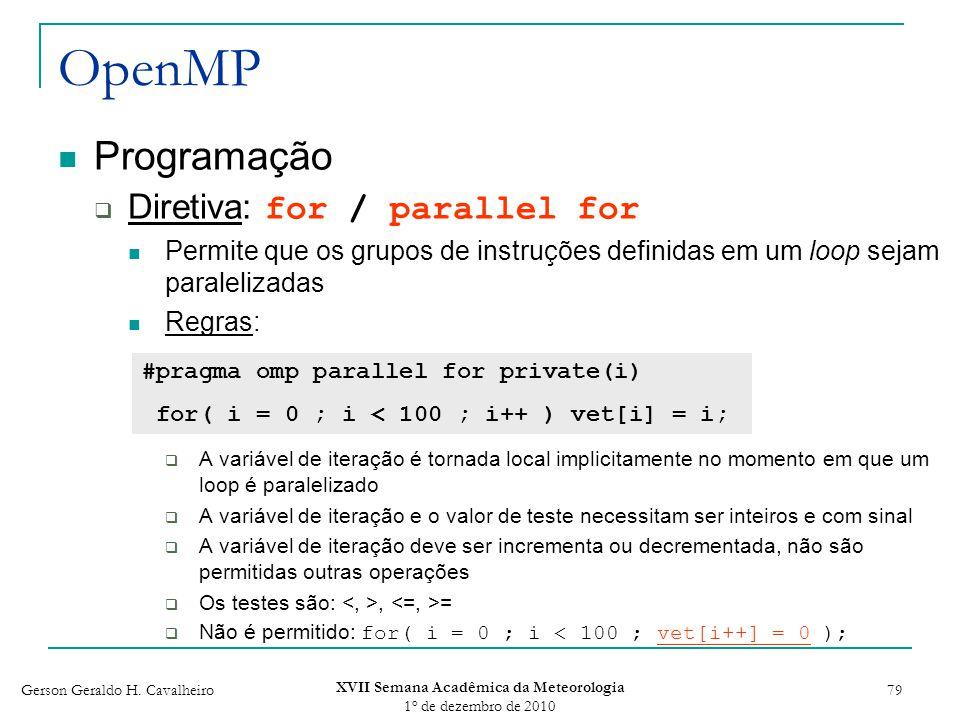 Gerson Geraldo H. Cavalheiro XVII Semana Acadêmica da Meteorologia 1 o de dezembro de 2010 79 OpenMP Programação Diretiva: for / parallel for Permite