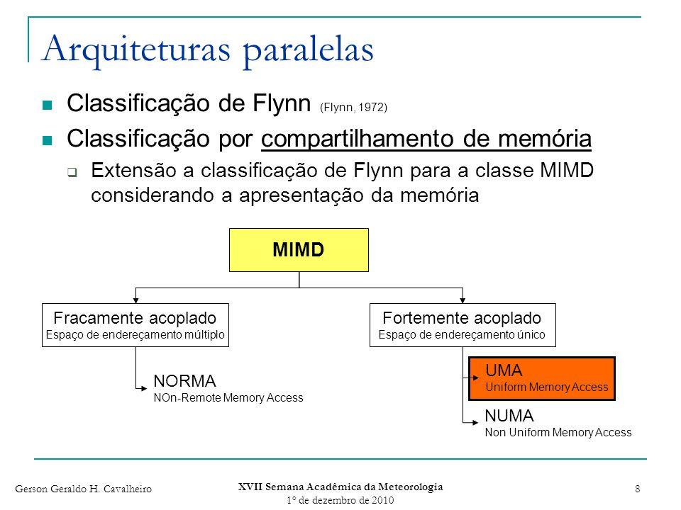 Gerson Geraldo H. Cavalheiro XVII Semana Acadêmica da Meteorologia 1 o de dezembro de 2010 8 Arquiteturas paralelas Classificação de Flynn (Flynn, 197
