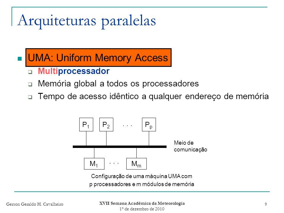 Gerson Geraldo H. Cavalheiro XVII Semana Acadêmica da Meteorologia 1 o de dezembro de 2010 9 Arquiteturas paralelas UMA: Uniform Memory Access Multipr