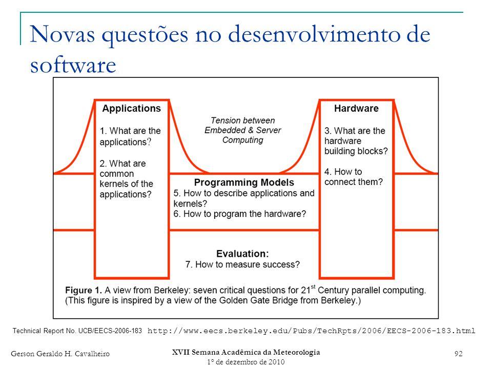 Gerson Geraldo H. Cavalheiro XVII Semana Acadêmica da Meteorologia 1 o de dezembro de 2010 92 Novas questões no desenvolvimento de software Technical