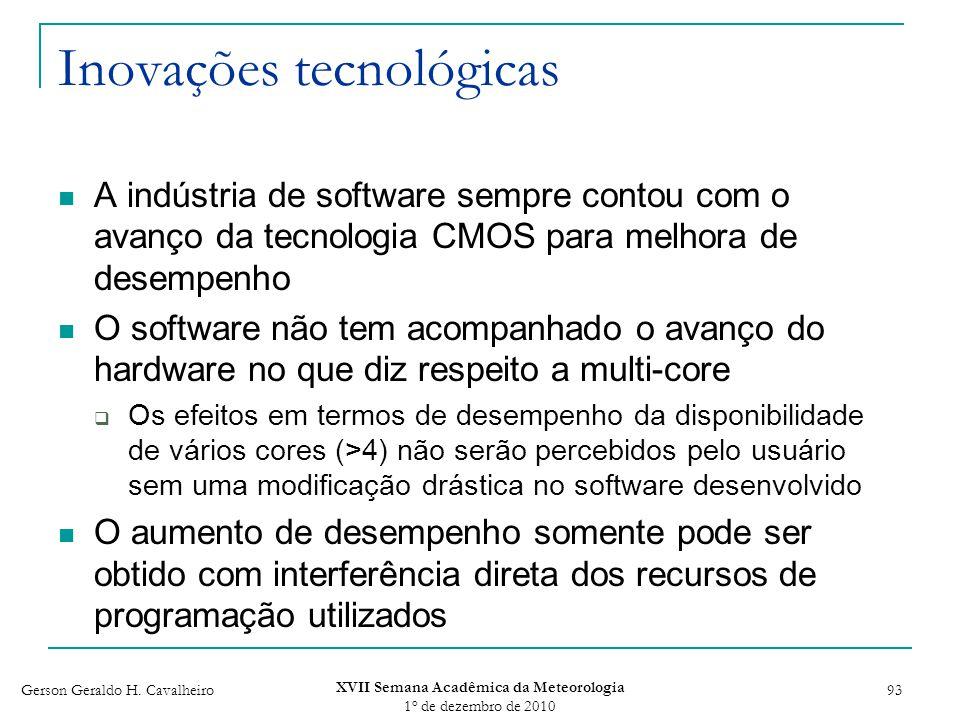 Gerson Geraldo H. Cavalheiro XVII Semana Acadêmica da Meteorologia 1 o de dezembro de 2010 93 Inovações tecnológicas A indústria de software sempre co