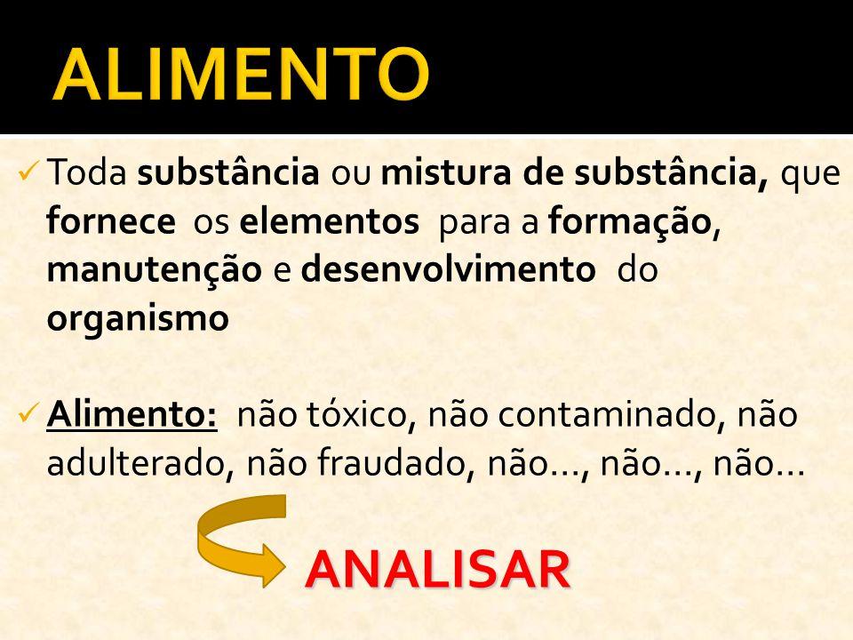 Toda substância ou mistura de substância, que fornece os elementos para a formação, manutenção e desenvolvimento do organismo Alimento: não tóxico, nã